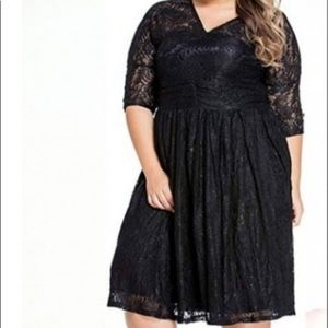 Women's Plus Black Lace Skater Dress